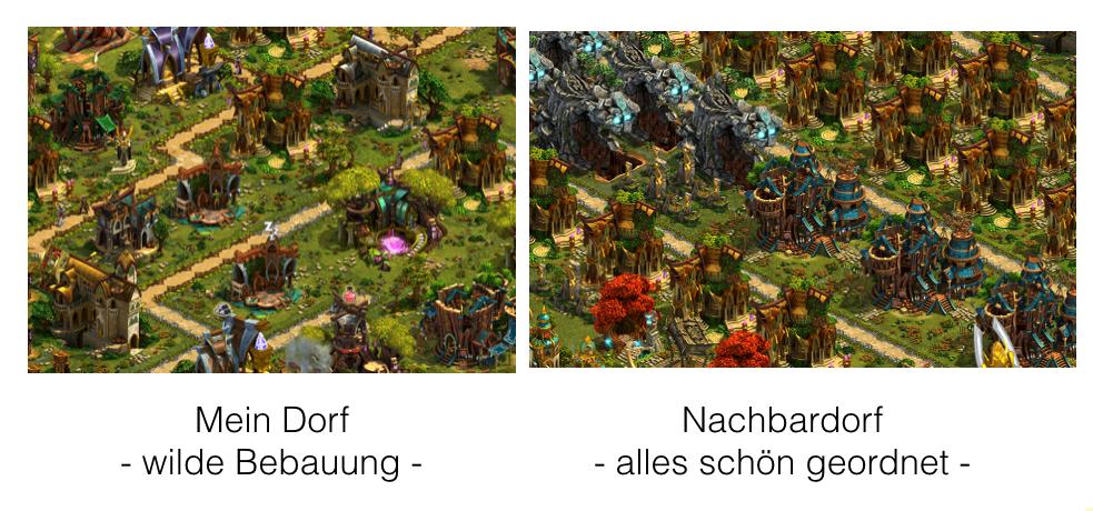 Vergleich zweier Dörfer bei Elvenar