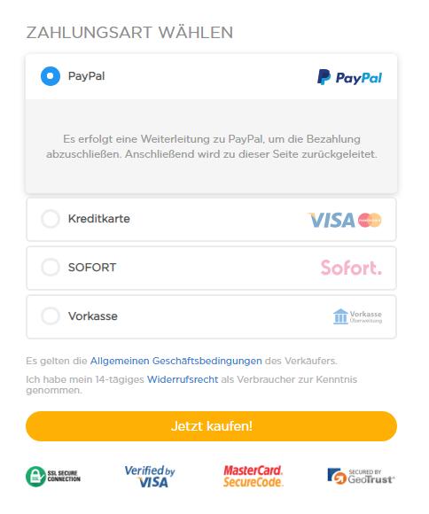 Zahlungsart wählen